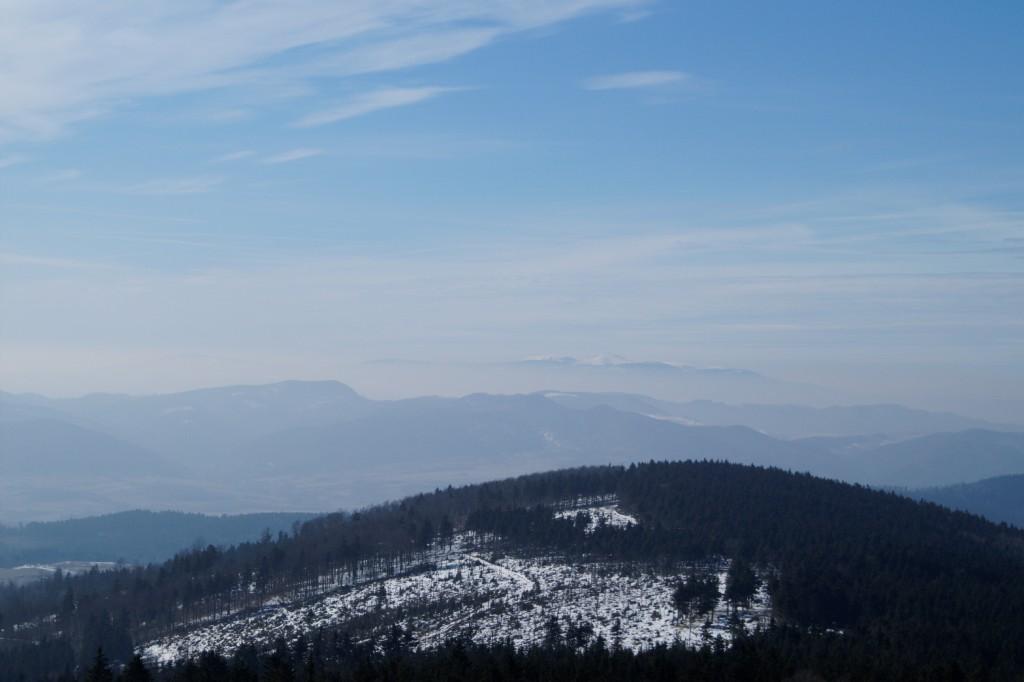 W oddali widać zaśnieżone Karkonosze i Śnieżkę