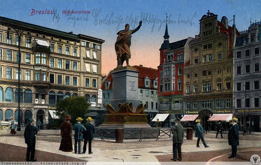 Plac Solny i pomnik Feldmarszałka von Blüchera - Źródło: dolny-slask.org.pl