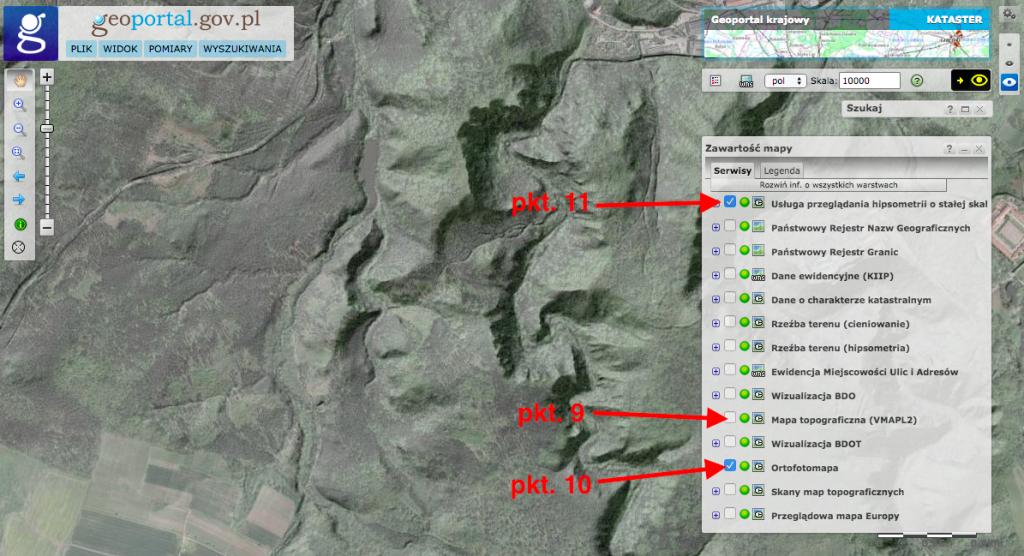 Jak włączyć mapę LIDAR - Instrukcja - Geoportal.gov.pl