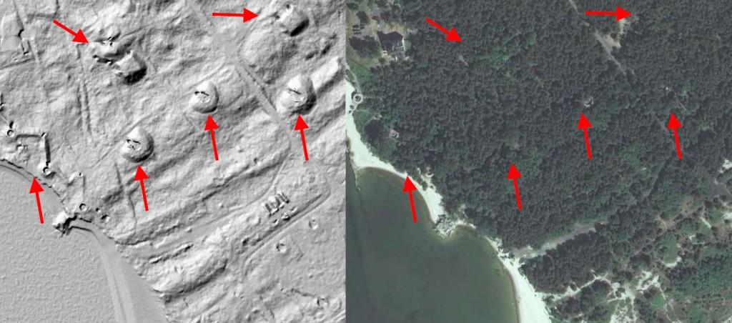 Stanowiska artylerii na Helu - Mapa LIDAR Źródło: Geoportal