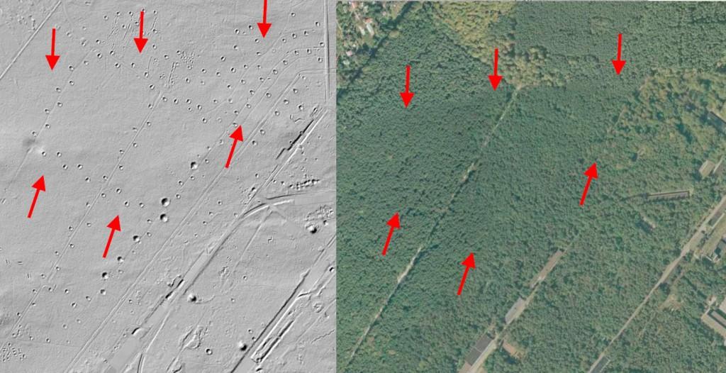 Składnica sprzętu wojskowego Gałkówek - Mapa LIDAR Źródło: Geoportal