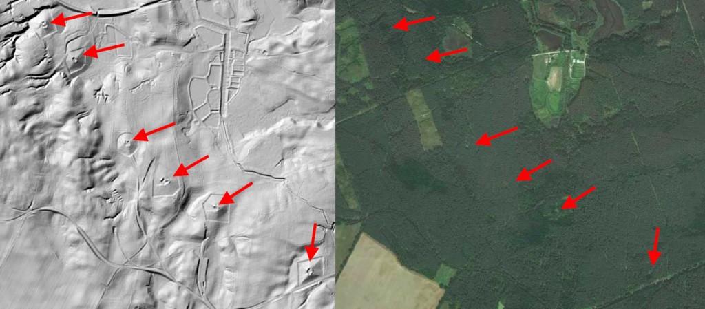 Międzyrzecki Rejon Umocniony - Mapa LIDAR Źródło: Geoportal
