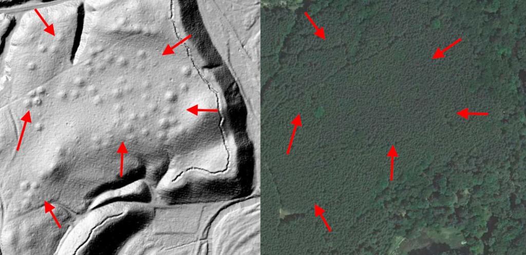 Cmentarzysko Kurhanowe - Mapa LIDAR Źródło: Geoportal