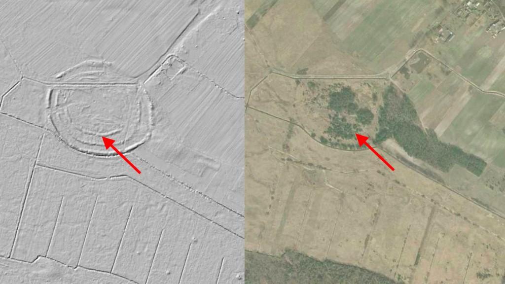 Wczesnośredniowieczne grodzisko - Mapa LIDAR Źródło: Geoportal