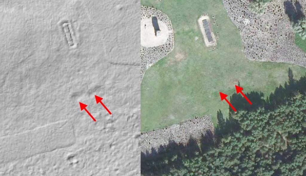 Ślady Komór Gazowych w Treblince - Mapa LIDAR Źródło: Geoportal