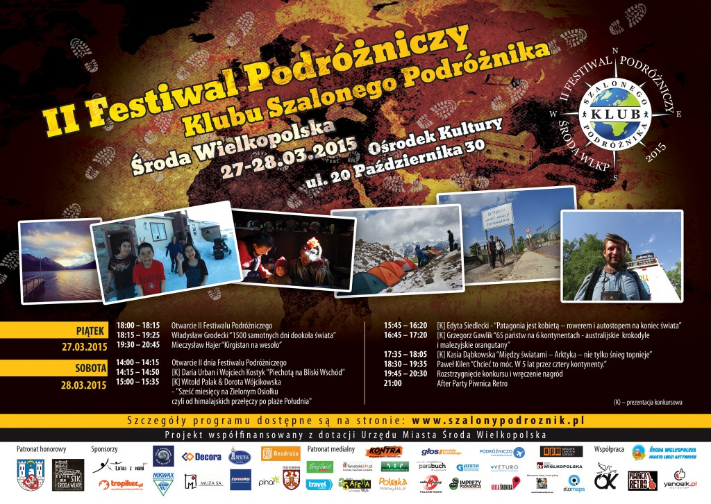 Plakat II Festiwalu Podróżniczego w Środzie Wielkopolskiej