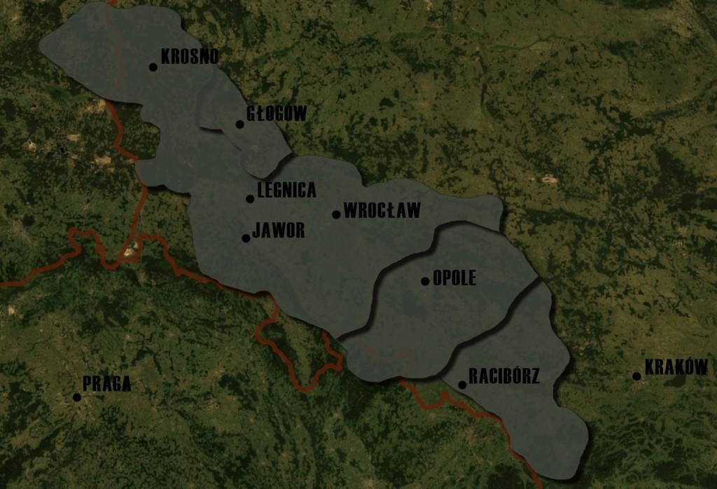 Poglądowa Mapa Księstw Śląskich - Lata 1177-1185