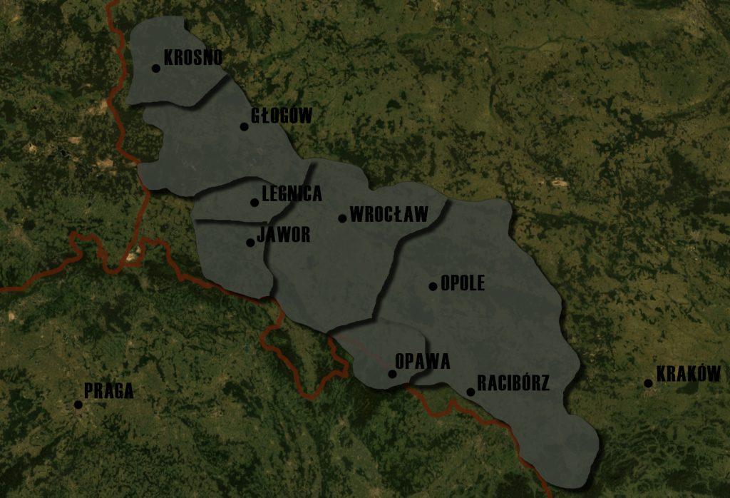 Poglądowa Mapa Księstw Śląskich - Lata 1273-1277