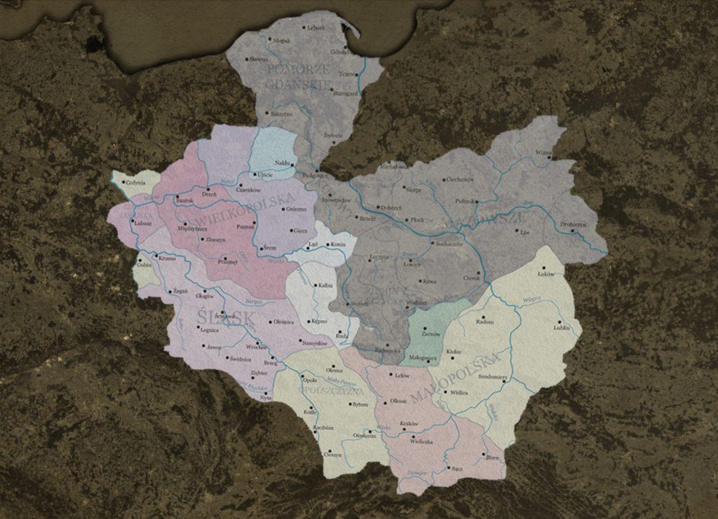 Poglądowa Mapa Monarchii Henryków Śląskich - Na Podstawie: http://commons.wikimedia.org