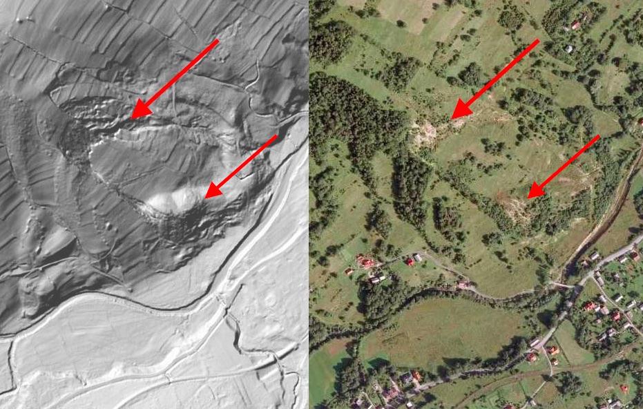 Osuwisko Ziemi w Lachowicach - Mapa LIDAR Źródło: Geoportal