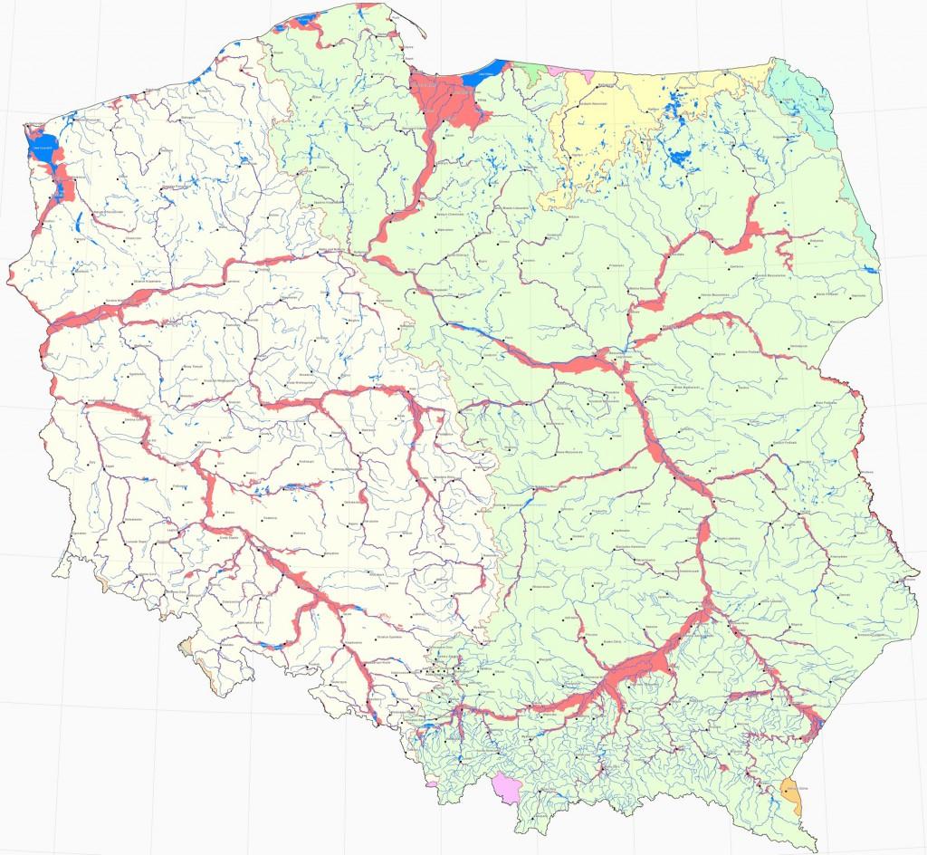Obszary narażone na niebezpieczeństwo powodzi - Źródło: www.kzgw.gov.pl
