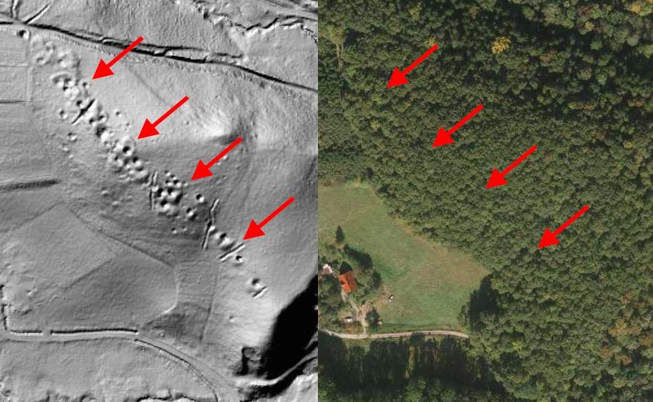 Ślady Dawnego Górnictwa w Sudetach - Mapa LIDAR Źródło: Geoportal