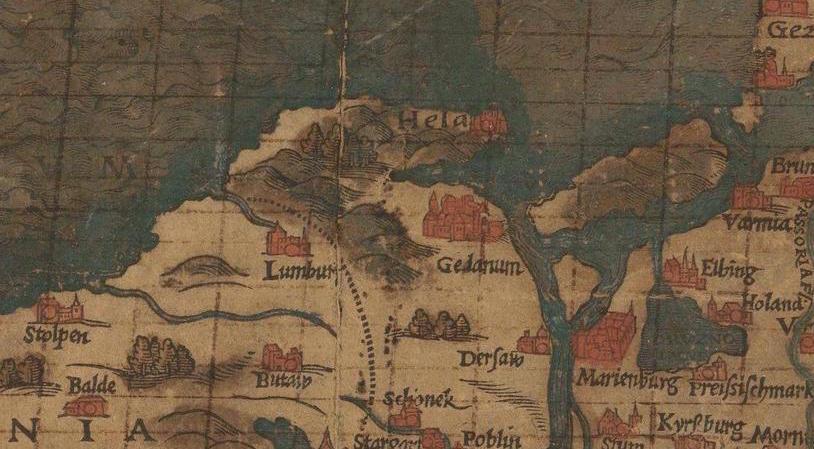 Stara mapa Polski - Ujście Wisły, Gdańsk i Mierzeja Helska