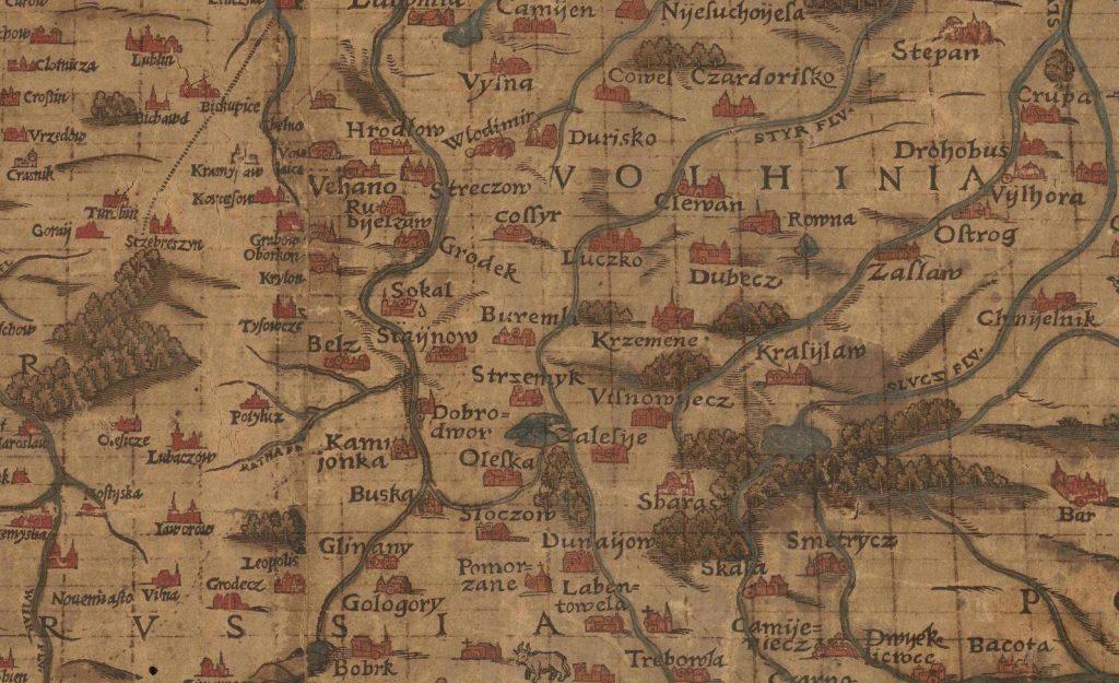 Fragment starej mapy - Wołyń
