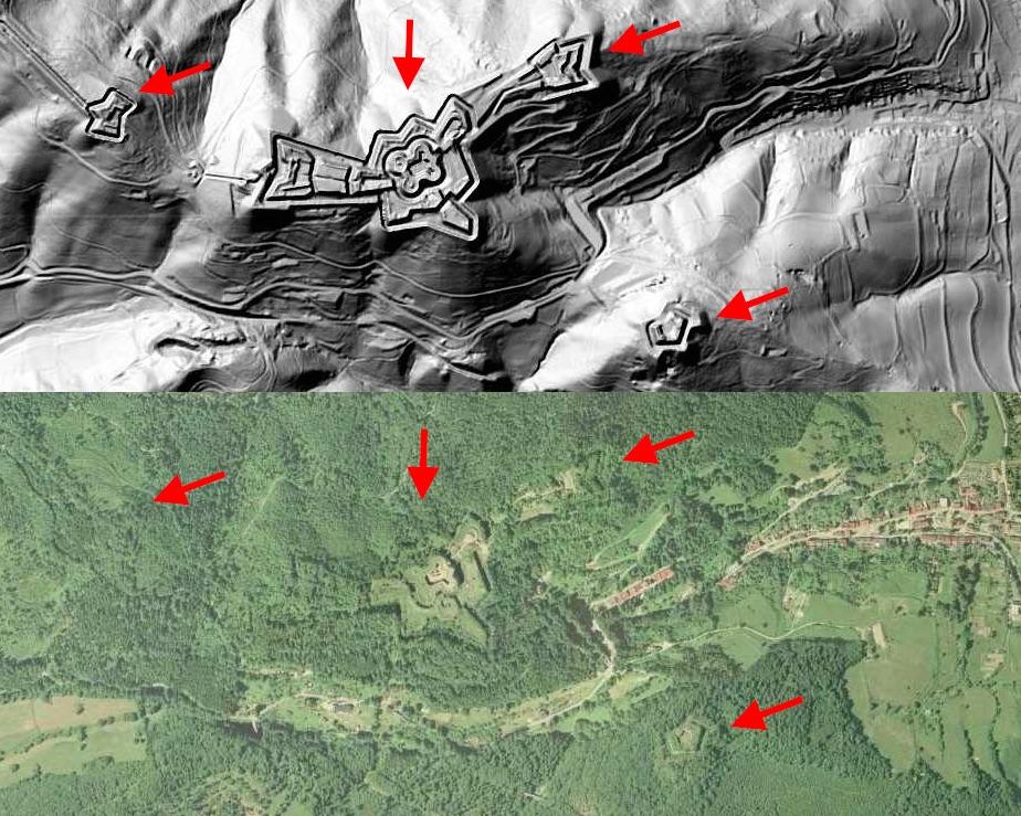 Fortyfikacje Twierdzy Srebrna Góra - Mapa LIDAR Źródło: Geoportal
