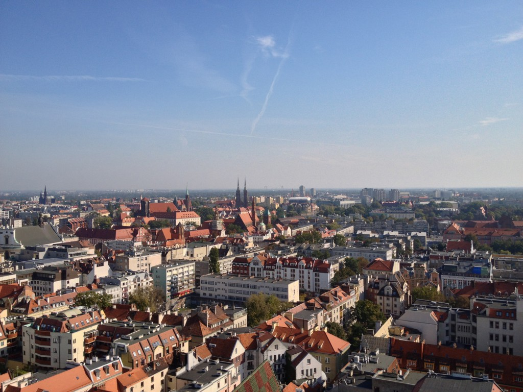 Panorama na Wrocław z Kościoła św. Elżbiety