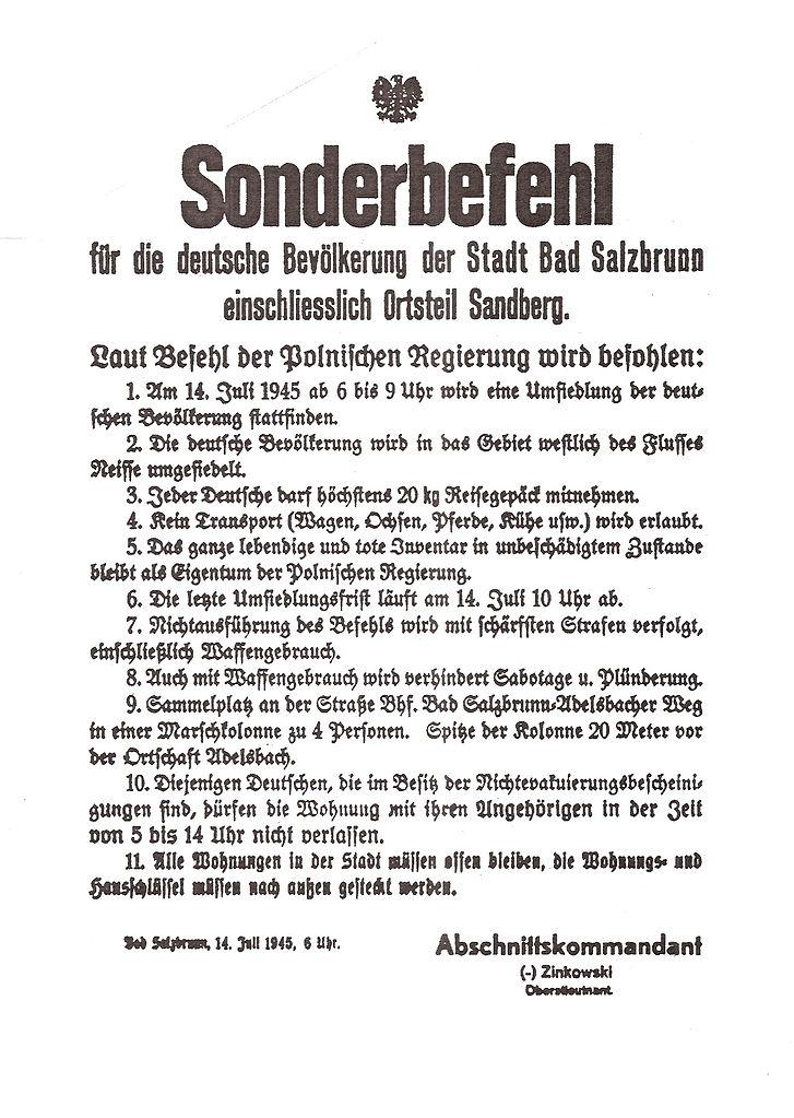 Rozkaz wysiedlenia ludności niemieckiej w Bad Salzbrunn (dziś Szczawno-Zdrój)