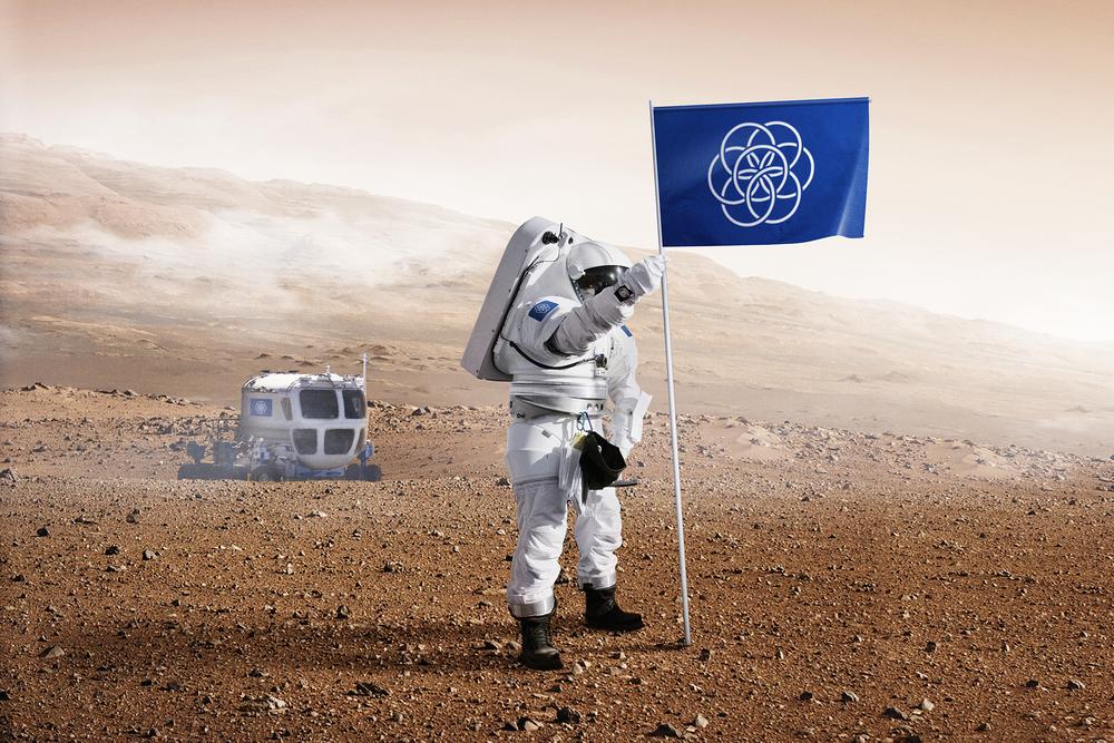 Wizualizacja międzynarodowej flagi na Marsie - Źródło: www.flagofplanetearth.com