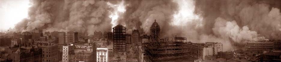 Panorama San Francisco i Niszczycielskie Pożary