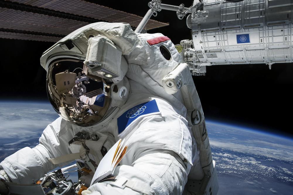 Wizualizacja międzynarodowej flagi w kosmosie - Źródło: www.flagofplanetearth.com