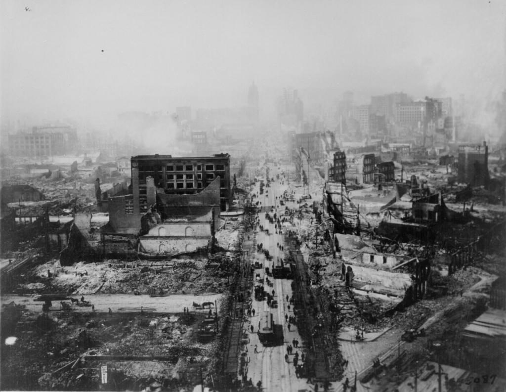 Zniszczone San Francisco po trzęsieniu ziemi z 1906 roku