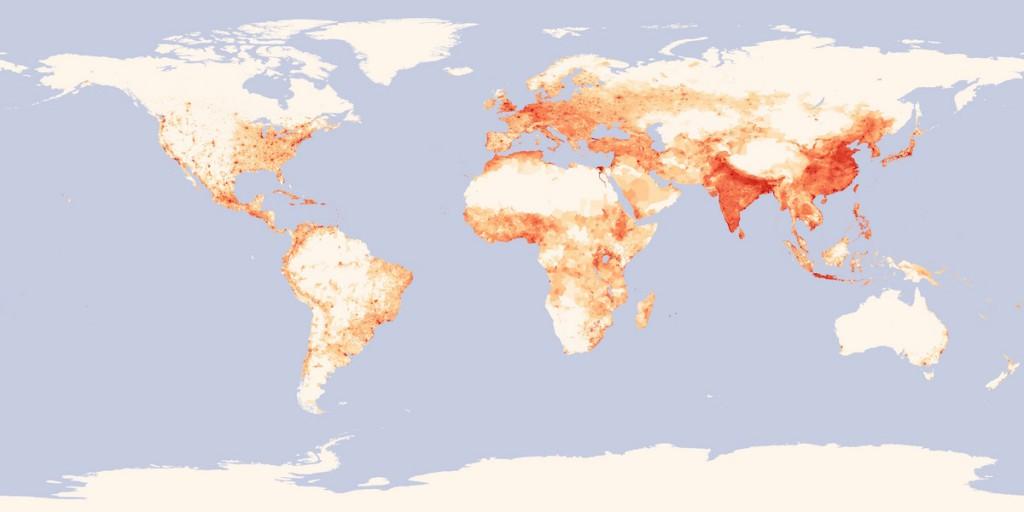Mapa gęstości zaludnienia na Ziemi - Źródło: minus.com