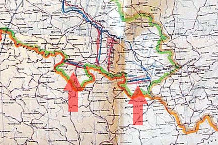Radziecka mapa z 1944 r., na której Stalin jeszcze planuje przekazanie Ziemi Kłodzkiej Czechosłowacji, później zmienił zdanie.