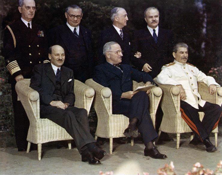 Clement Attlee, Harry Truman i Józef Stalin w Poczdamie
