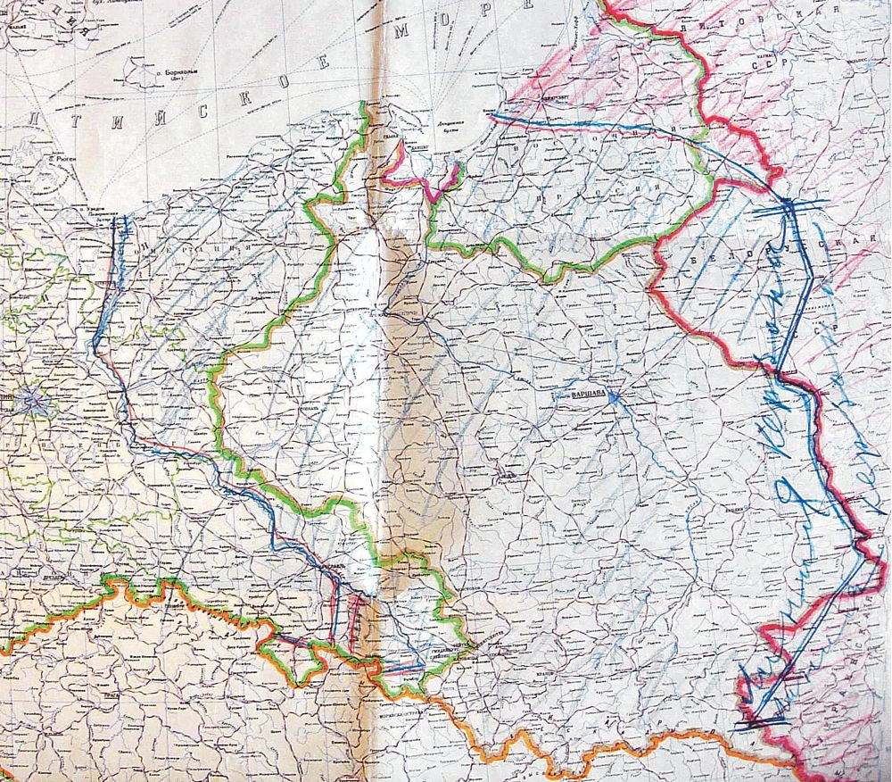 Radziecka mapa Polski z nowymi granicami - Lato 1944 rok