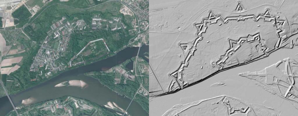 Twierdza Modlin na Mapach LIDAR - Źródło: Geoportal