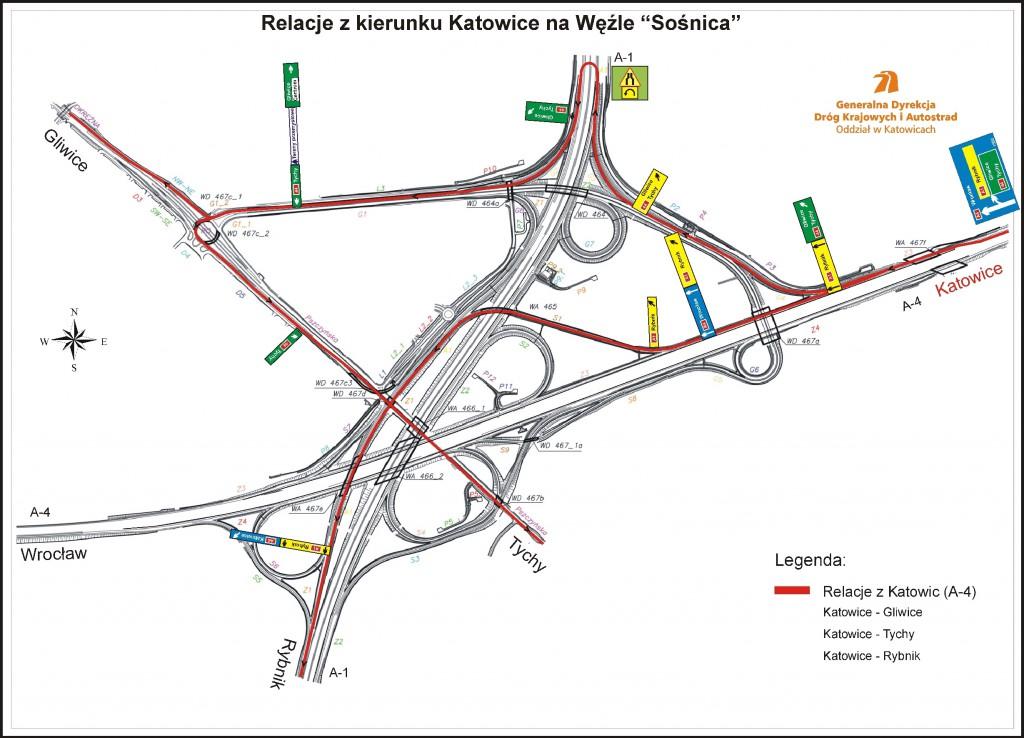 Węzeł Autostradowy Gliwice-Sośnica na Planach - Źródło: GDDKiA