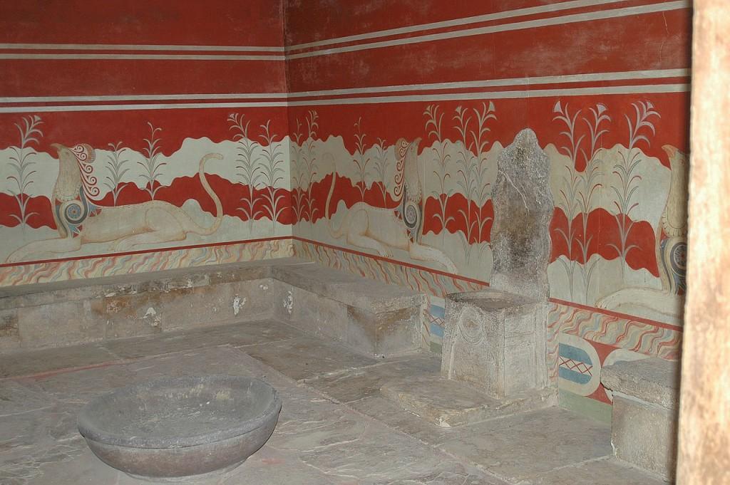 Tron w Pałacu Knossos - Historia Krzesła - Foto: Harrieta171 Źródło: commons.wikimedia.org