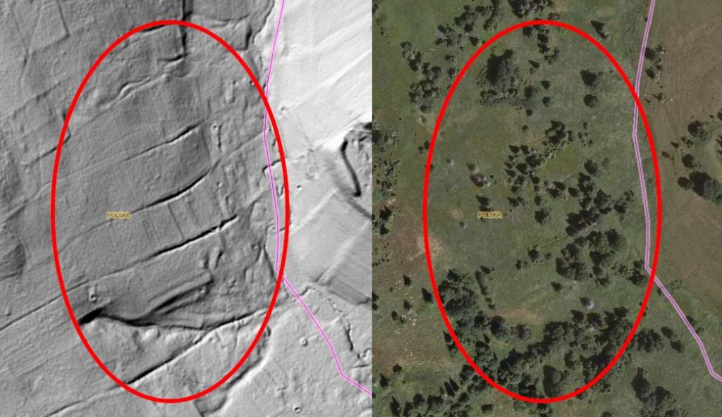 Opuszczona wieś Sianki na obrazie LIDAR - Źródło: Geoportal
