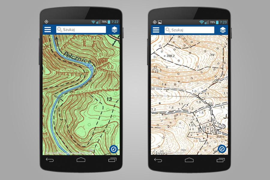 Skany Map Topograficznych - Aplikacja Geoportal Mobile