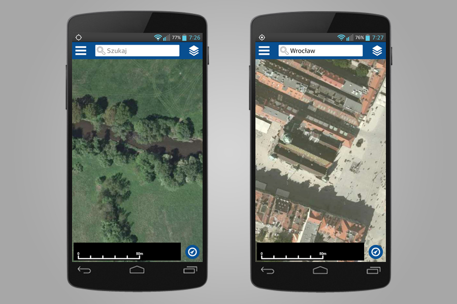 Ortofotomapa (zdjęcia satelitarne i lotnicze) - Aplikacja Geoportal Mobile
