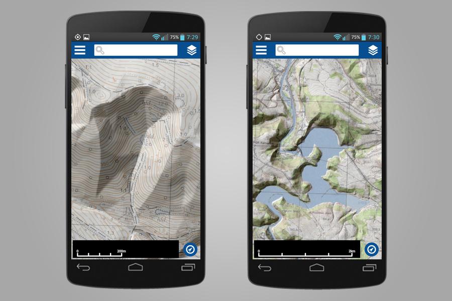 Rzeźba Terenu i Mapa Topograficzna - Aplikacja Geoportal Mobile