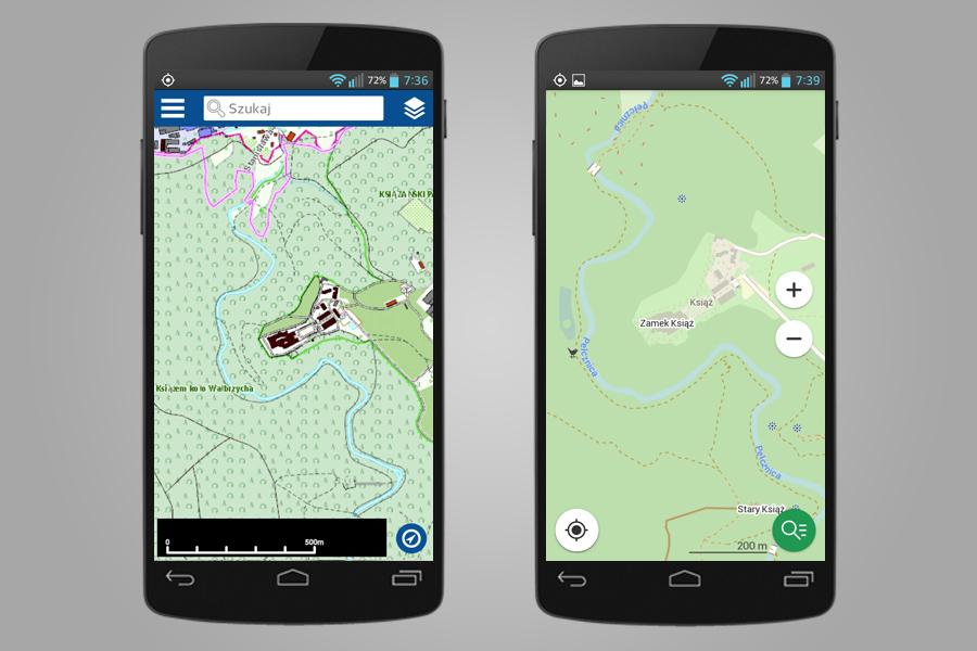 Po lewej mapa topograficzna Geoportalu - Po prawa OSM