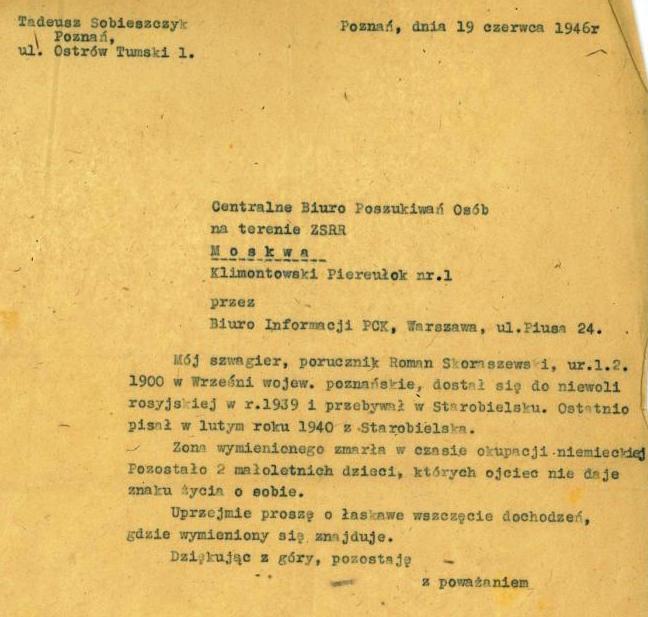 Pismo do Centralnego Biura Poszukiwań Osób na terenie ZSRR
