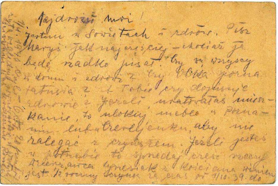 Listy z Katynia - Tył Kartki z Grudnia 1939 Roku
