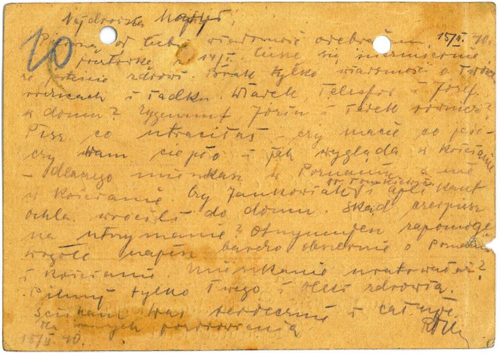 Listy z Katynia - Tył kartki z lutego 1940 roku