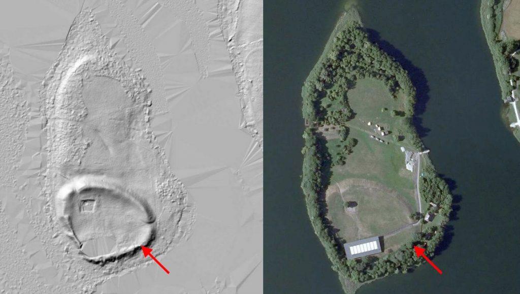 Zdjęcie satelitarne i obraz LIDAR z wyraźnie zaznaczonym wałem - Źródło: Geoportal