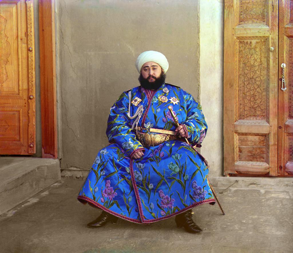 Mohammed Alim Khan, emir Buchary w Uzbekistanie. Emirat Buchary był pod protektoratem carskiej Rosji. Rok 1911.