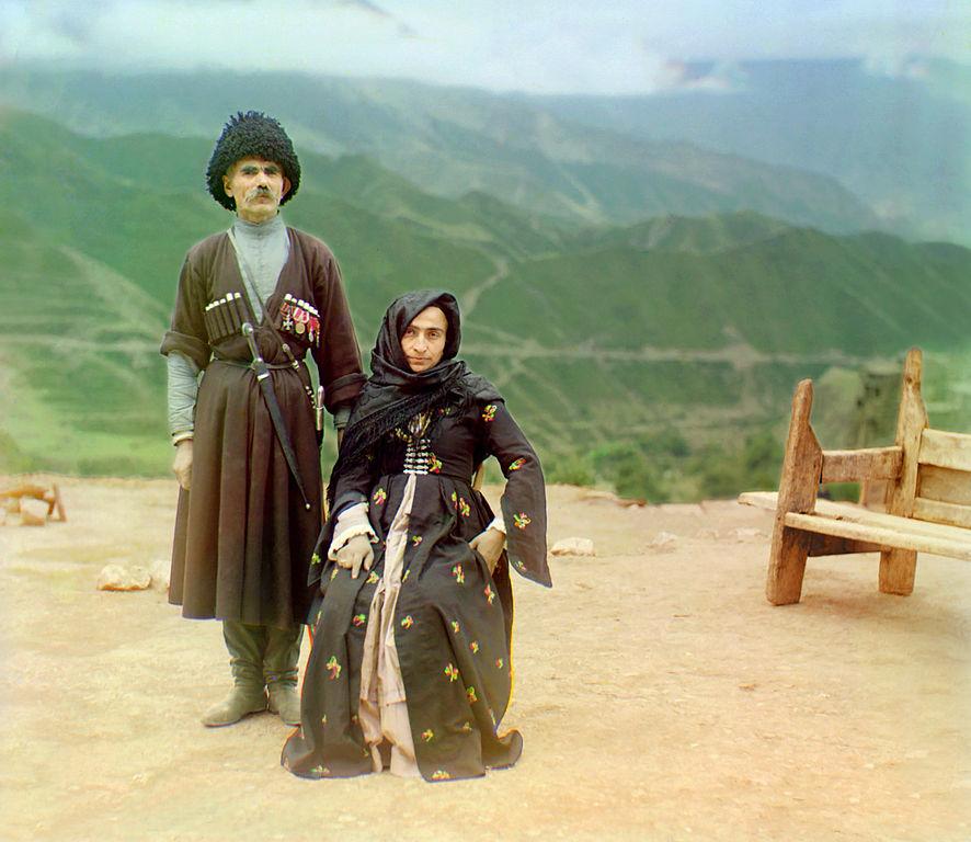Mieszkańcy Dagestanu na Kaukazie. Rok 1904.
