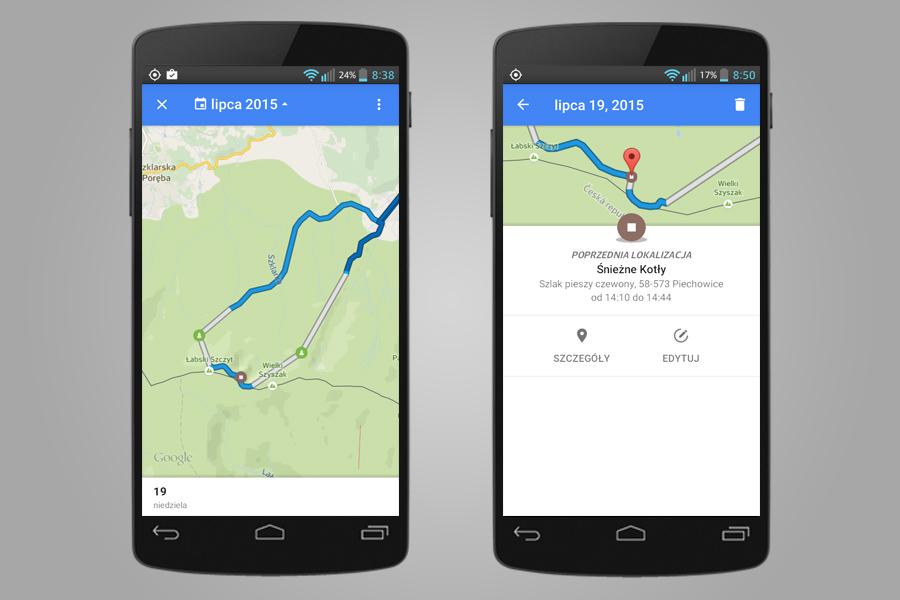 Google śledzi moją trasę w górach