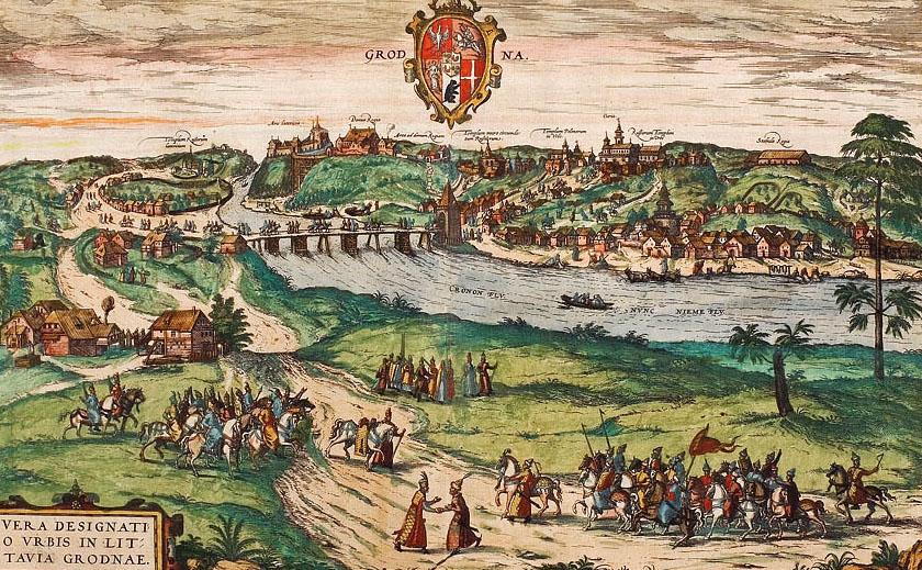 Panorama Grodna nad Niemnem - rok 1575 lub później