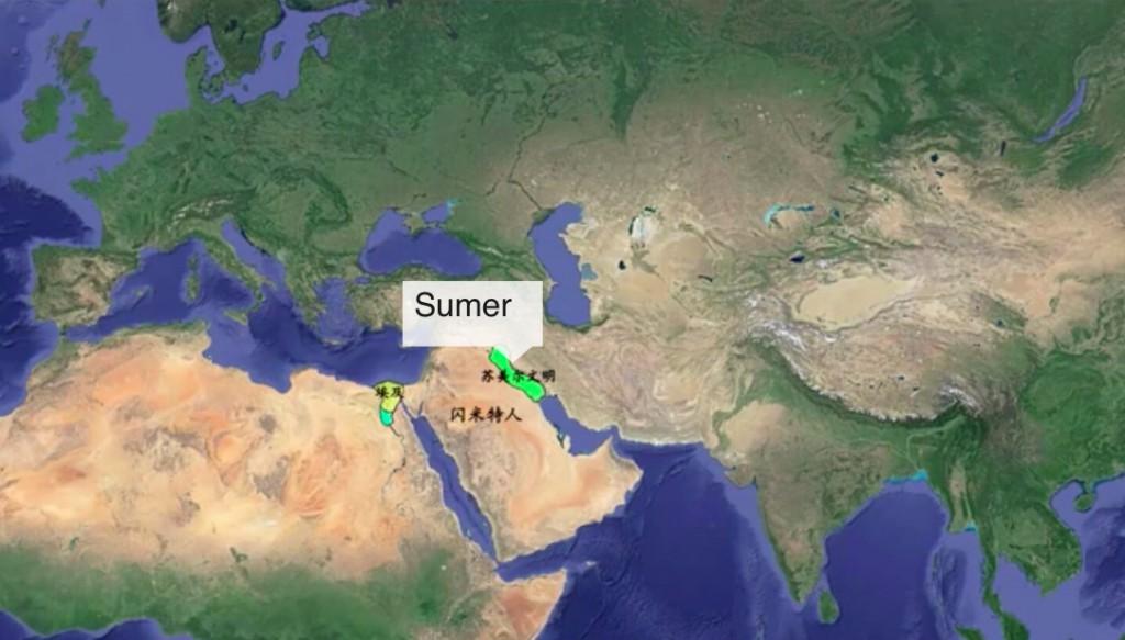Mapa historii cywilizacji rok 3500 p.n.e. - Źródło: www.youtube.com