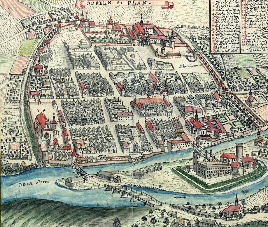 Perspektywiczny widok Opola - XVIII wiek