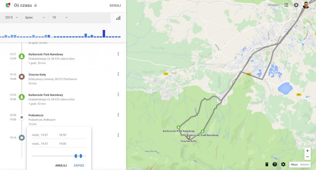 Oś Czasu - Historia Lokalizacji Google