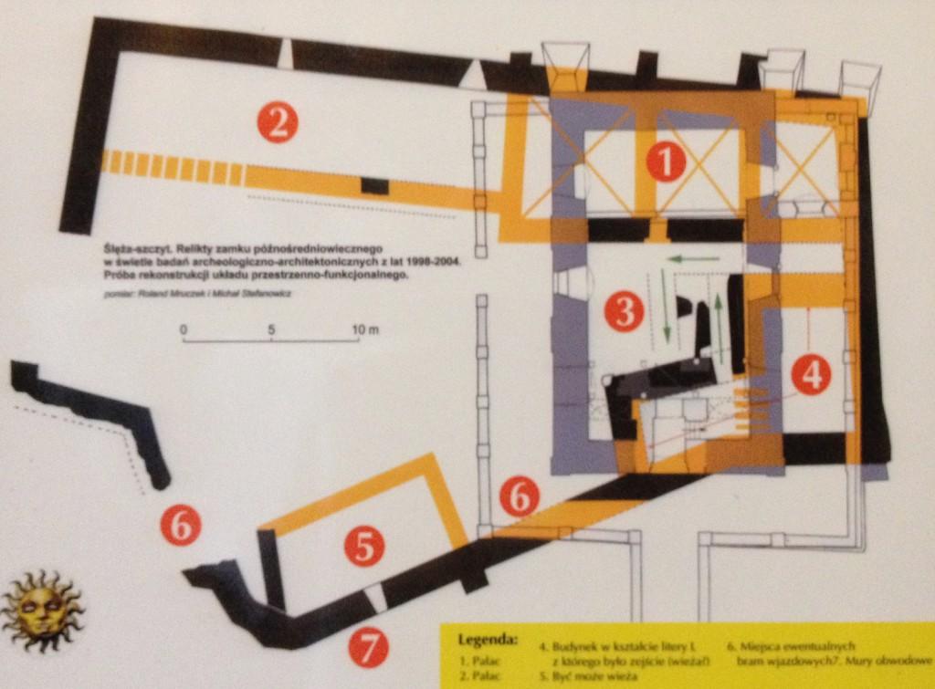 Plan zamku na tle obecnego kościoła - Szczyt Ślęży