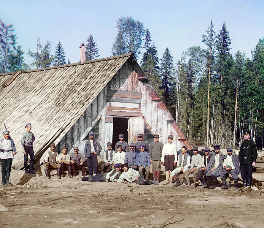 Austriaccy więźniowie w rosyjskim obozie w Karelii, podczas I Wojny Światowej. Rok 1915.